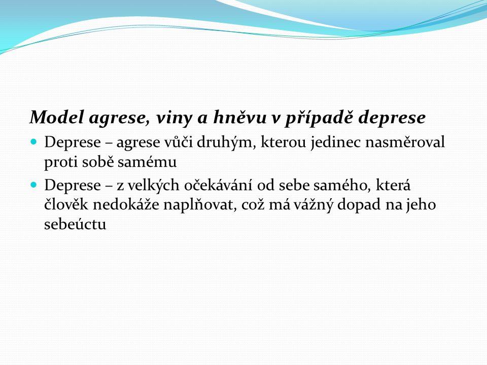 Model agrese, viny a hněvu v případě deprese  Deprese – agrese vůči druhým, kterou jedinec nasměroval proti sobě samému  Deprese – z velkých očekává