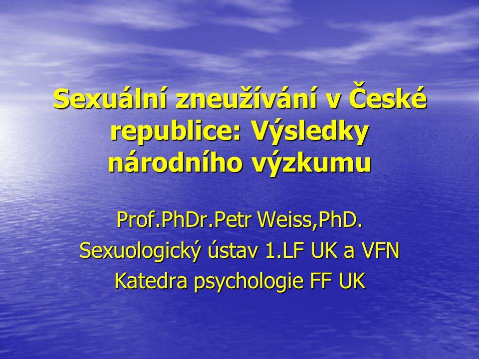 Sexuální chování v ČR • Kontinuální výzkum sexuálního chování české populace realizovaný v letech 1993, 1998, 2003 a 2008 • Autoři a odborní garanti výzkumu: prof.