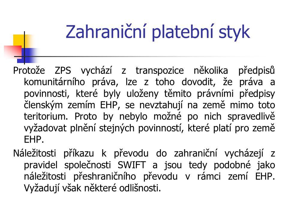 Zahraniční platební styk Swiftová adresa – struktura K K K K X X Y Y C C C, kdeKKKK je tzv.