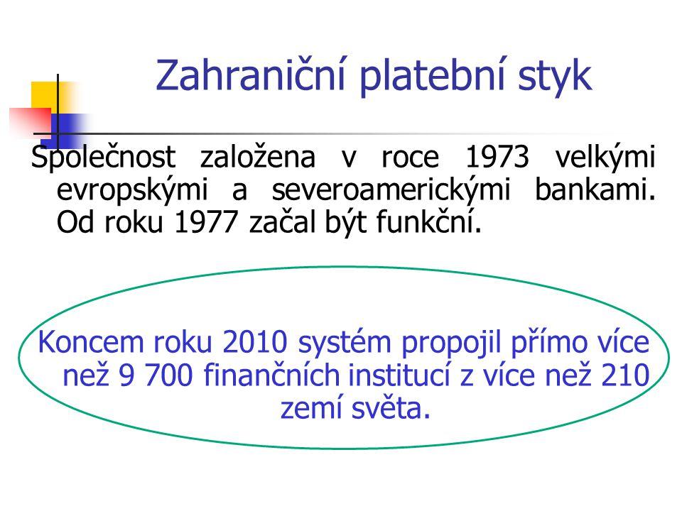 Zahraniční platební styk Společnost založena v roce 1973 velkými evropskými a severoamerickými bankami. Od roku 1977 začal být funkční. Koncem roku 20