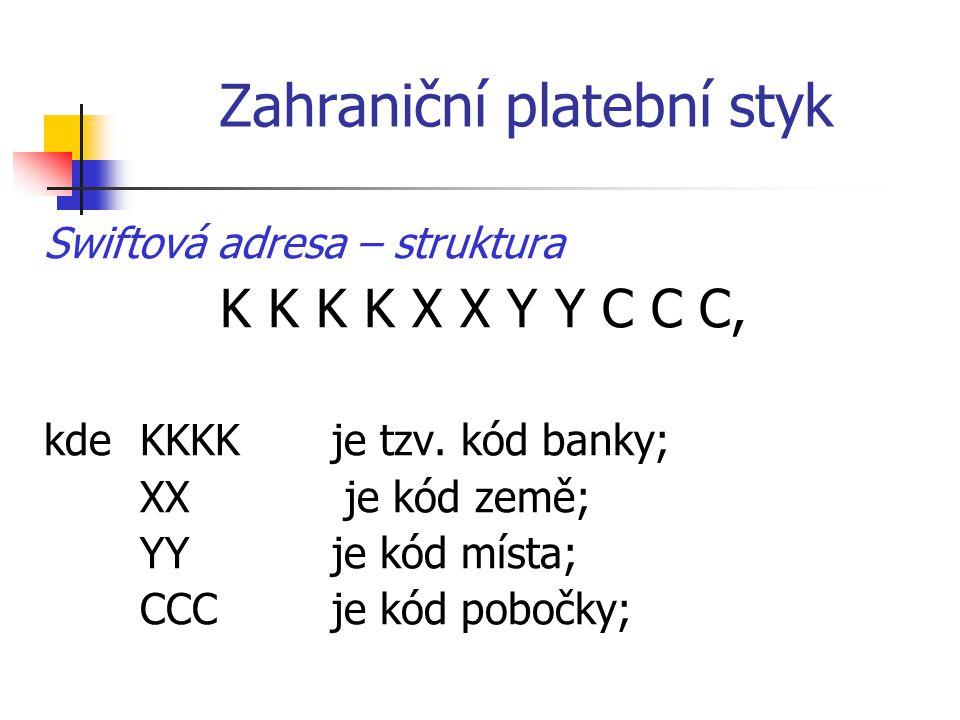 Zahraniční platební styk Swiftová adresa – struktura K K K K X X Y Y C C C, kdeKKKK je tzv. kód banky; XX je kód země; YY je kód místa; CCC je kód pob