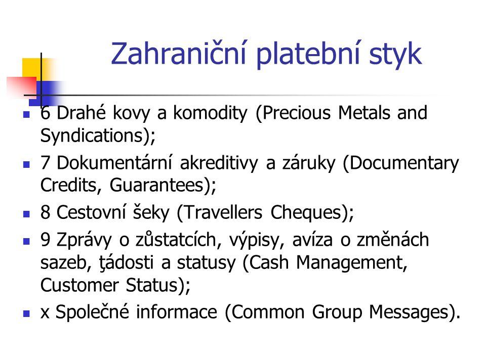 Zahraniční platební styk  6 Drahé kovy a komodity (Precious Metals and Syndications);  7 Dokumentární akreditivy a záruky (Documentary Credits, Guar