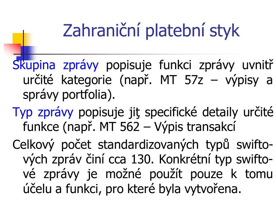 Zahraniční platební styk Skupina zprávy popisuje funkci zprávy uvnitř určité kategorie (např. MT 57z – výpisy a správy portfolia). Typ zprávy popisuje