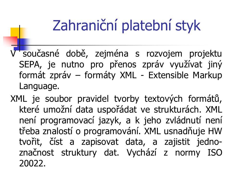 Zahraniční platební styk V současné době, zejména s rozvojem projektu SEPA, je nutno pro přenos zpráv využívat jiný formát zpráv – formáty XML - Exten