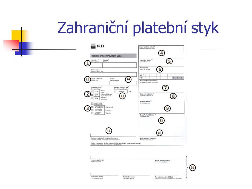 Zahraniční platební styk Přenos dat a informací realizovaný prostřednictvím swiftové sítě se provádí formou tzv.