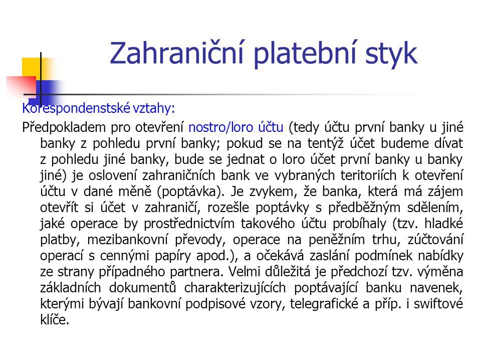 Zahraniční platební styk Korespondenstské vztahy: Předpokladem pro otevření nostro/loro účtu (tedy účtu první banky u jiné banky z pohledu první banky