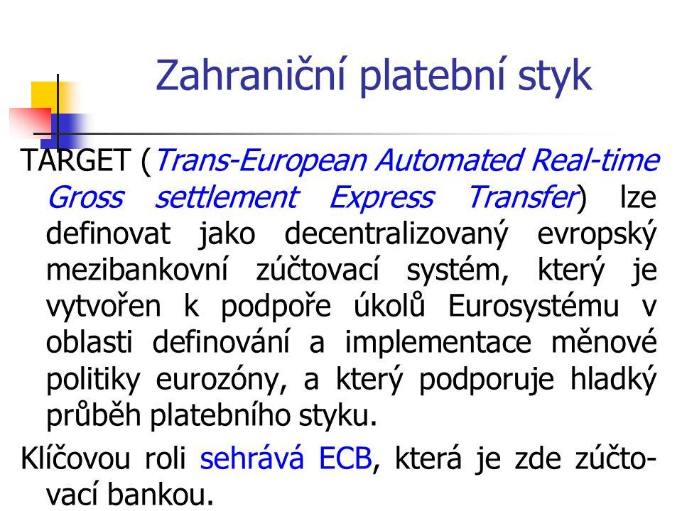 TARGET (Trans-European Automated Real-time Gross settlement Express Transfer) lze definovat jako decentralizovaný evropský mezibankovní zúčtovací syst