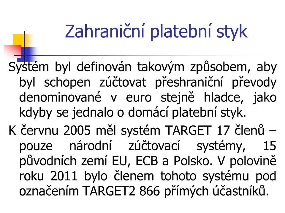 Zahraniční platební styk Systém byl definován takovým způsobem, aby byl schopen zúčtovat přeshraniční převody denominované v euro stejně hladce, jako