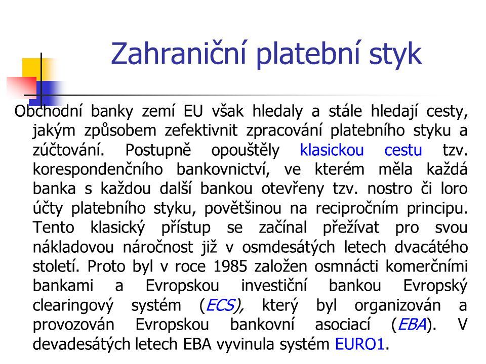 Zahraniční platební styk Obchodní banky zemí EU však hledaly a stále hledají cesty, jakým způsobem zefektivnit zpracování platebního styku a zúčtování