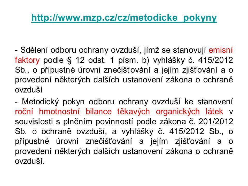- Sdělení odboru ochrany ovzduší, jímž se stanovují emisní faktory podle § 12 odst. 1 písm. b) vyhlášky č. 415/2012 Sb., o přípustné úrovni znečišťová