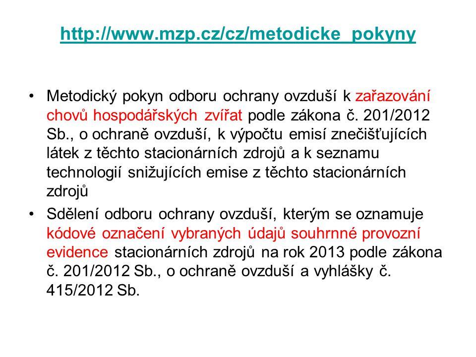 http://www.mzp.cz/cz/metodicke_pokyny •Metodický pokyn odboru ochrany ovzduší k zařazování chovů hospodářských zvířat podle zákona č. 201/2012 Sb., o