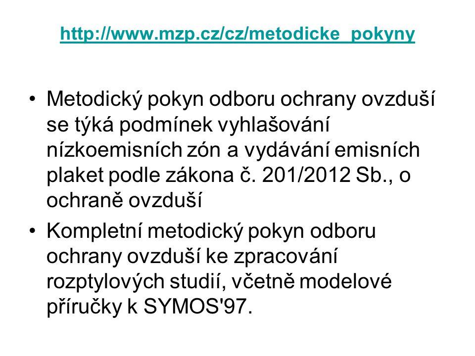 http://www.mzp.cz/cz/metodicke_pokyny •Metodický pokyn odboru ochrany ovzduší se týká podmínek vyhlašování nízkoemisních zón a vydávání emisních plake