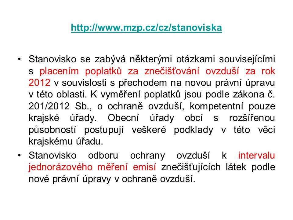 http://www.mzp.cz/cz/stanoviska •Stanovisko se zabývá některými otázkami souvisejícími s placením poplatků za znečišťování ovzduší za rok 2012 v souvi