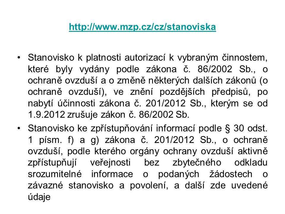 http://www.mzp.cz/cz/stanoviska •Stanovisko k platnosti autorizací k vybraným činnostem, které byly vydány podle zákona č. 86/2002 Sb., o ochraně ovzd