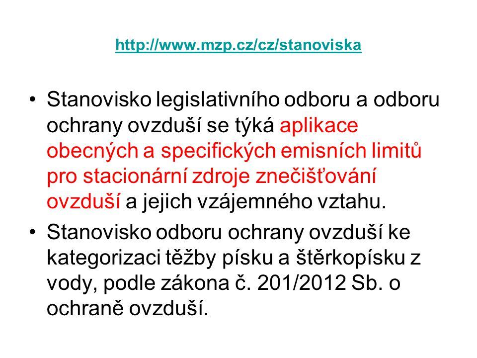 http://www.mzp.cz/cz/stanoviska •Stanovisko legislativního odboru a odboru ochrany ovzduší se týká aplikace obecných a specifických emisních limitů pr