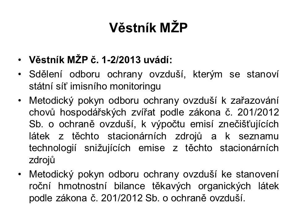 Věstník MŽP •Věstník MŽP č. 1-2/2013 uvádí: •Sdělení odboru ochrany ovzduší, kterým se stanoví státní síť imisního monitoringu •Metodický pokyn odboru