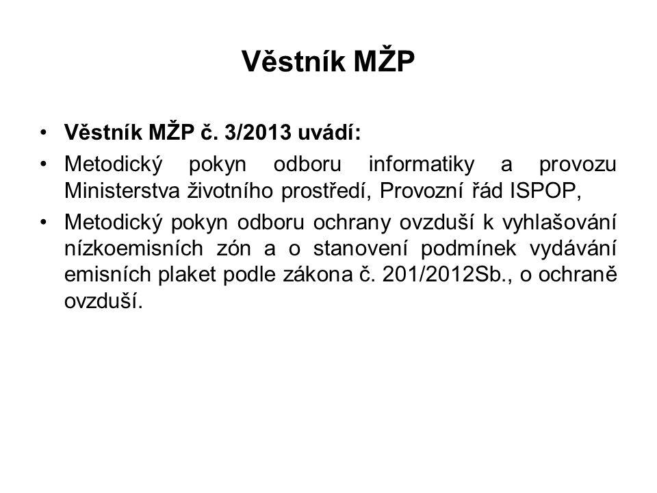 Věstník MŽP •Věstník MŽP č. 3/2013 uvádí: •Metodický pokyn odboru informatiky a provozu Ministerstva životního prostředí, Provozní řád ISPOP, •Metodic