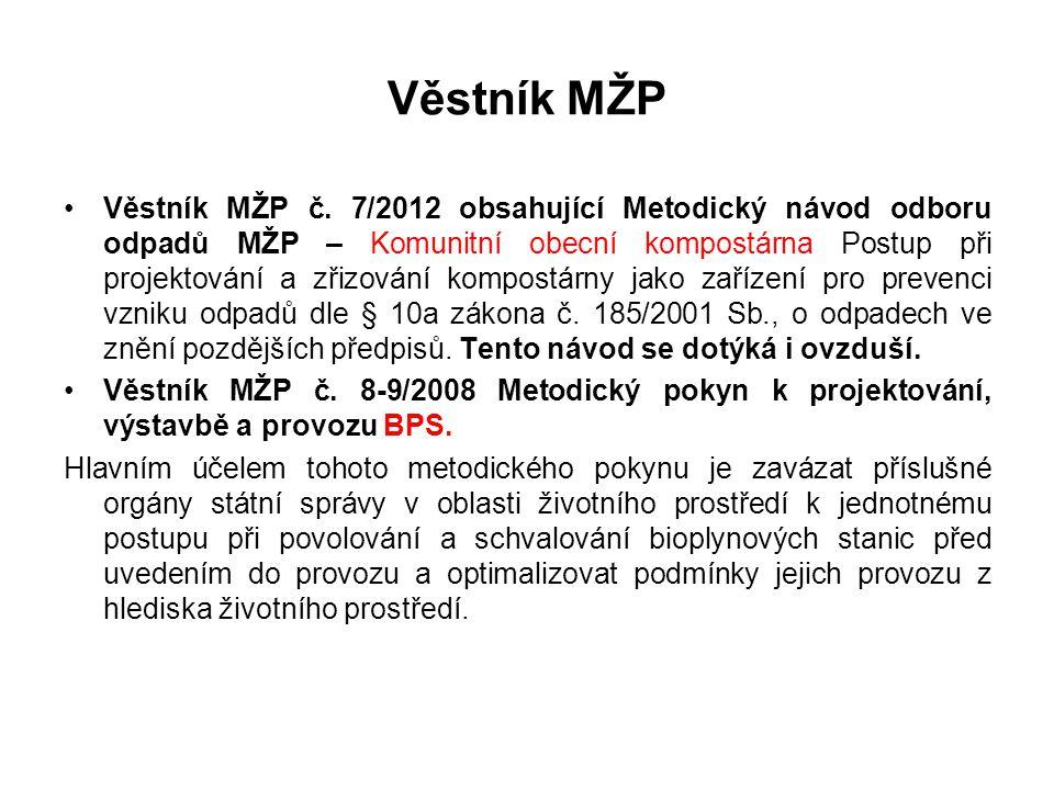 Věstník MŽP •Věstník MŽP č. 7/2012 obsahující Metodický návod odboru odpadů MŽP – Komunitní obecní kompostárna Postup při projektování a zřizování kom