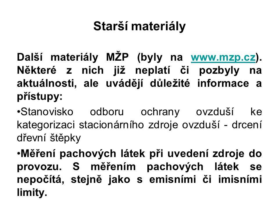 Starší materiály Další materiály MŽP (byly na www.mzp.cz). Některé z nich již neplatí či pozbyly na aktuálnosti, ale uvádějí důležité informace a přís