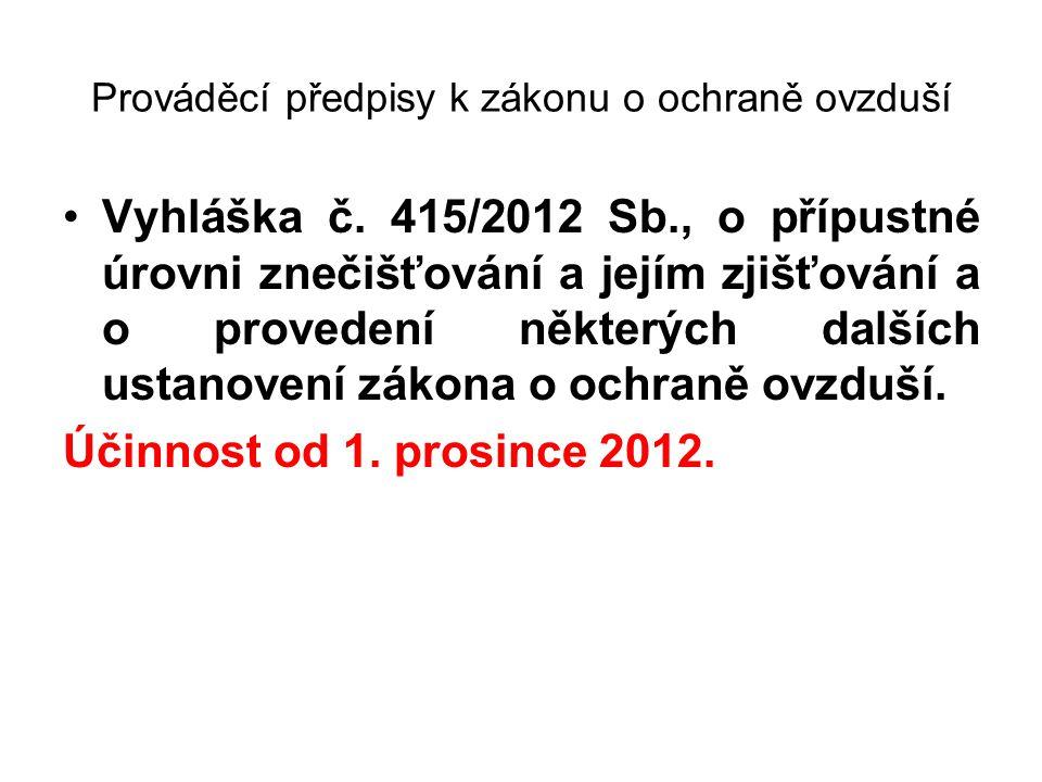 Prováděcí předpisy k zákonu o ochraně ovzduší •Vyhláška č. 415/2012 Sb., o přípustné úrovni znečišťování a jejím zjišťování a o provedení některých da