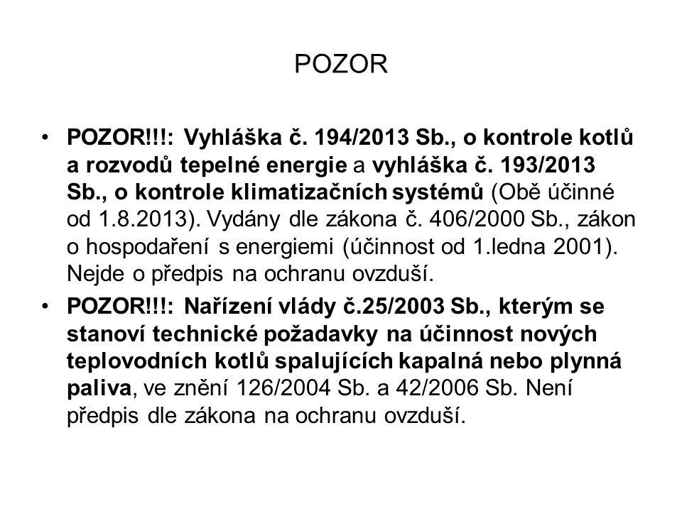 POZOR •POZOR!!!: Vyhláška č. 194/2013 Sb., o kontrole kotlů a rozvodů tepelné energie a vyhláška č. 193/2013 Sb., o kontrole klimatizačních systémů (O