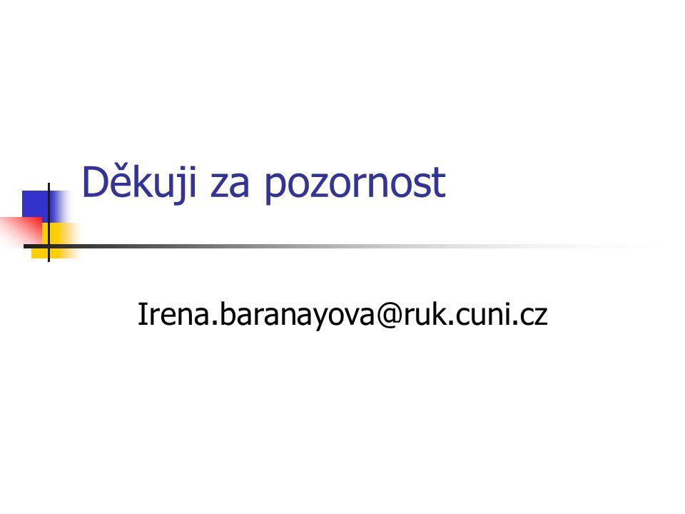 Děkuji za pozornost Irena.baranayova@ruk.cuni.cz