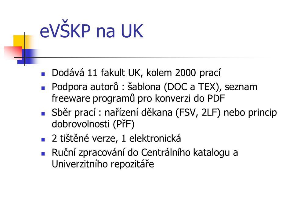 eVŠKP na UK  Dodává 11 fakult UK, kolem 2000 prací  Podpora autorů : šablona (DOC a TEX), seznam freeware programů pro konverzi do PDF  Sběr prací