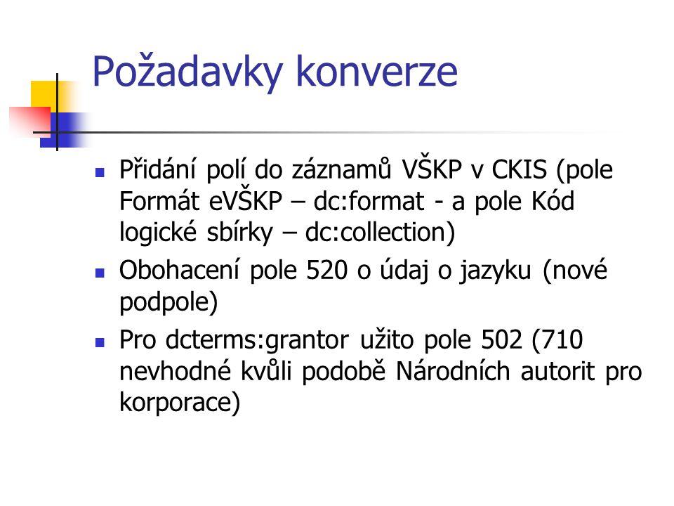 Požadavky konverze  Přidání polí do záznamů VŠKP v CKIS (pole Formát eVŠKP – dc:format - a pole Kód logické sbírky – dc:collection)  Obohacení pole