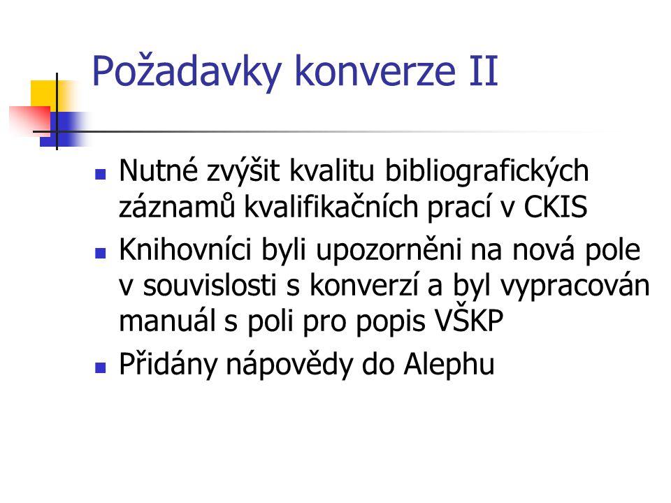 Požadavky konverze II  Nutné zvýšit kvalitu bibliografických záznamů kvalifikačních prací v CKIS  Knihovníci byli upozorněni na nová pole v souvislo