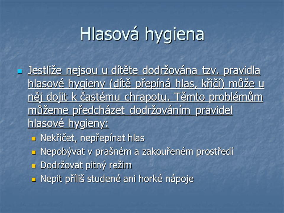 Hlasová hygiena  Jestliže nejsou u dítěte dodržována tzv. pravidla hlasové hygieny (dítě přepíná hlas, křičí) může u něj dojit k častému chrapotu. Tě