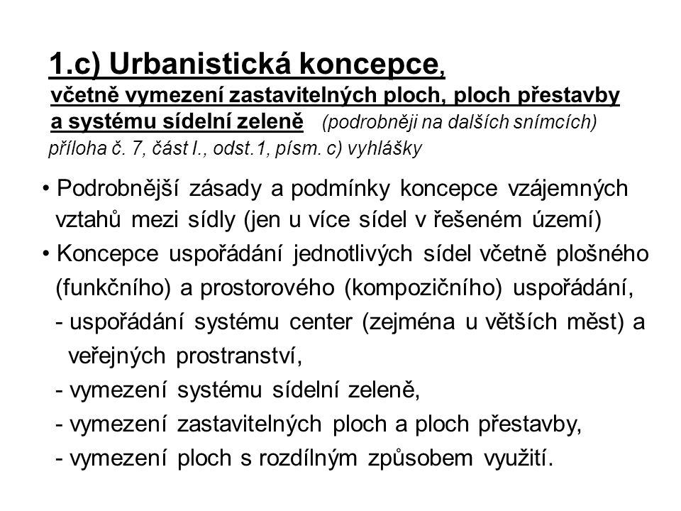 1.c) Urbanistická koncepce, včetně vymezení zastavitelných ploch, ploch přestavby a systému sídelní zeleně (podrobněji na dalších snímcích) příloha č.