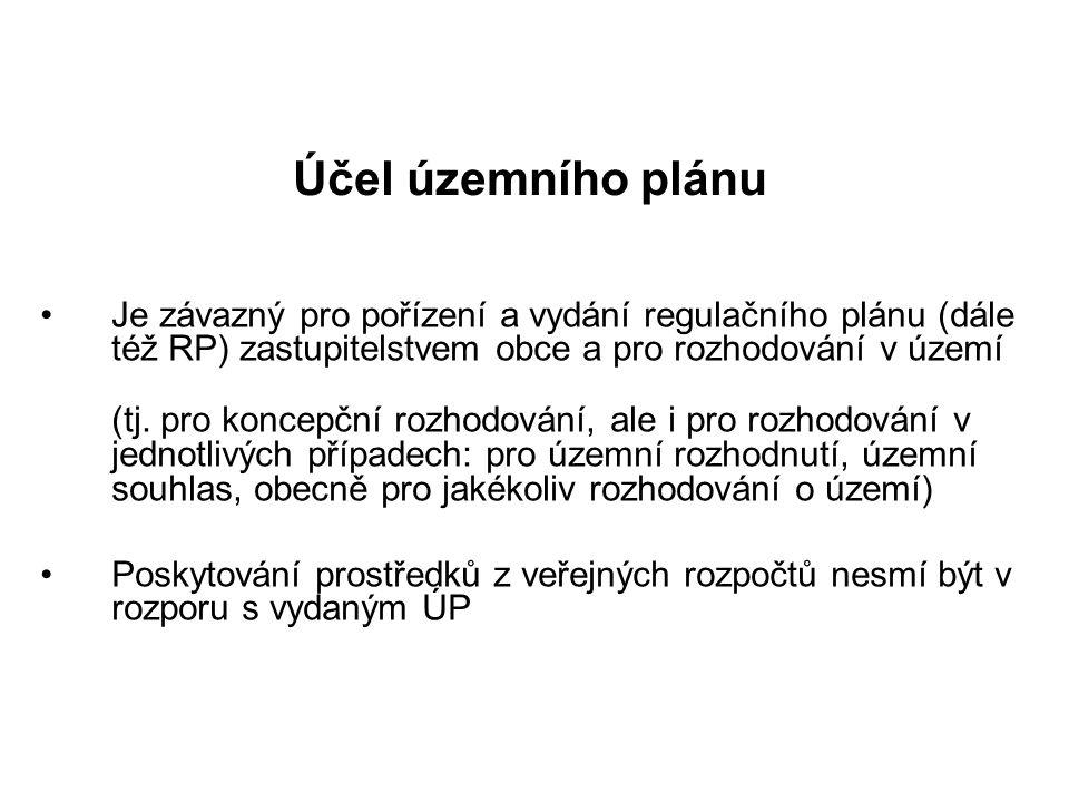Účel územního plánu •Je závazný pro pořízení a vydání regulačního plánu (dále též RP) zastupitelstvem obce a pro rozhodování v území (tj. pro koncepčn