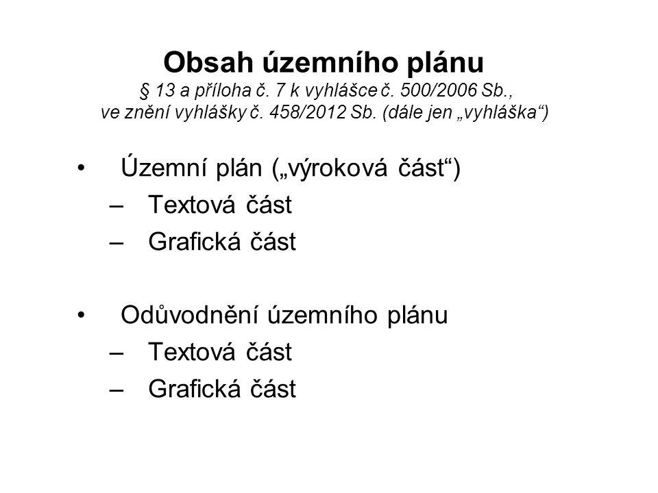 """Obsah územního plánu § 13 a příloha č. 7 k vyhlášce č. 500/2006 Sb., ve znění vyhlášky č. 458/2012 Sb. (dále jen """"vyhláška"""") •Územní plán (""""výroková č"""