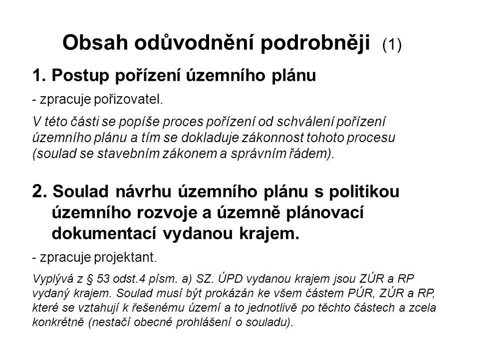 Obsah odůvodnění podrobněji (1) 1. Postup pořízení územního plánu - zpracuje pořizovatel. V této části se popíše proces pořízení od schválení pořízení