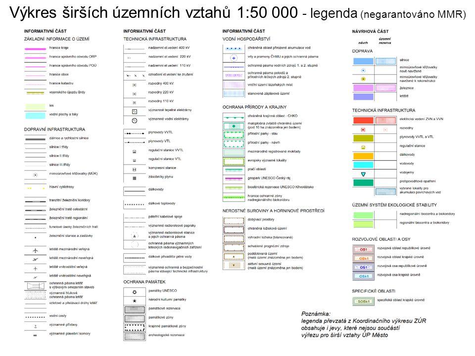 Výkres širších územních vztahů 1:50 000 - legenda (negarantováno MMR) Jako podklad byl použit Koordinační výkres ZÚR Středočeského kraje