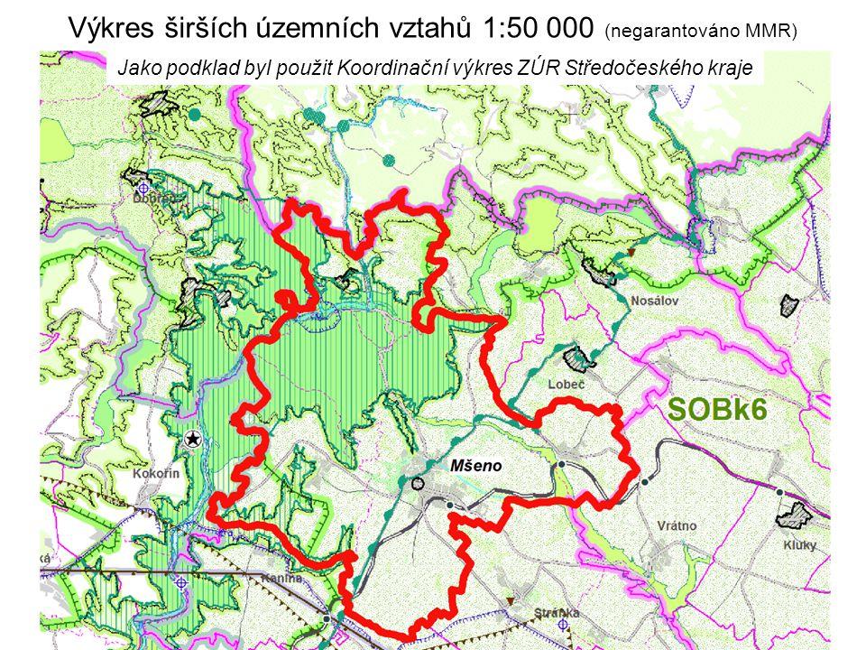 Výkres širších územních vztahů 1:50 000 (negarantováno MMR) Jako podklad byl použit Koordinační výkres ZÚR Středočeského kraje