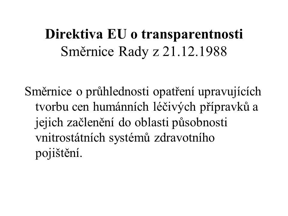 Direktiva EU o transparentnosti Směrnice Rady z 21.12.1988 Směrnice o průhlednosti opatření upravujících tvorbu cen humánních léčivých přípravků a jej