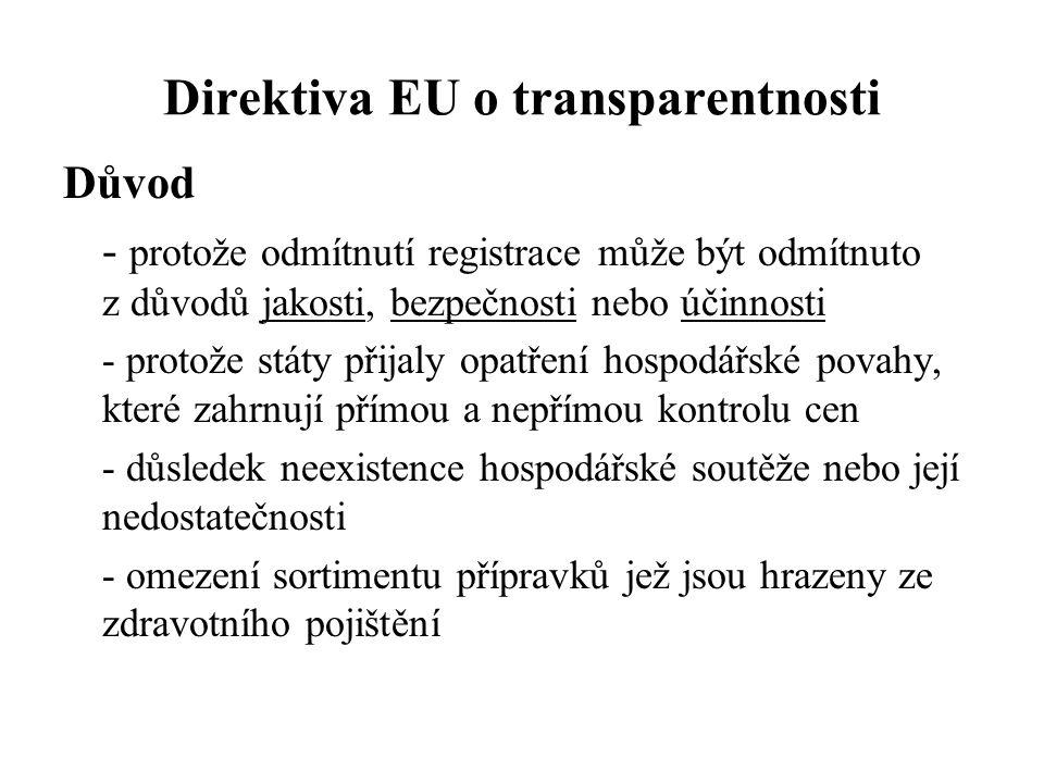Direktiva EU o transparentnosti Důvod - protože odmítnutí registrace může být odmítnuto z důvodů jakosti, bezpečnosti nebo účinnosti - protože státy p