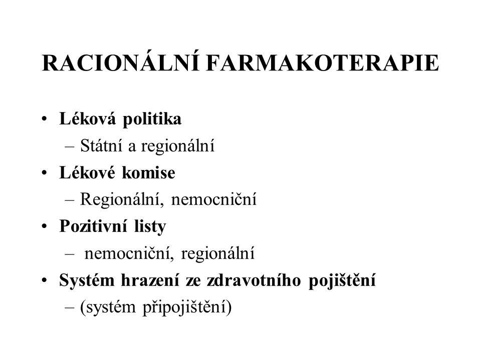 RACIONÁLNÍ FARMAKOTERAPIE •Léková politika –Státní a regionální •Lékové komise –Regionální, nemocniční •Pozitivní listy – nemocniční, regionální •Syst