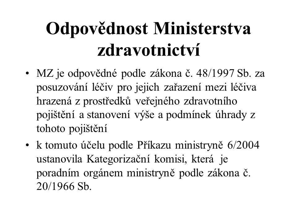 Odpovědnost Ministerstva zdravotnictví •MZ je odpovědné podle zákona č. 48/1997 Sb. za posuzování léčiv pro jejich zařazení mezi léčiva hrazená z pros