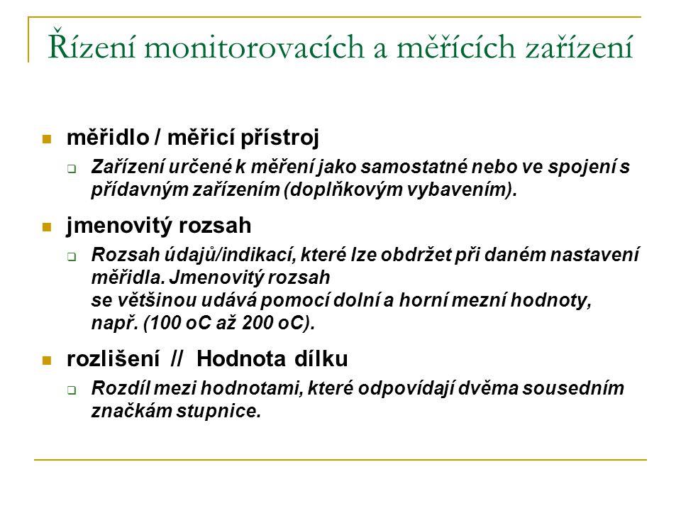 Řízení monitorovacích a měřících zařízení  měřidlo / měřicí přístroj  Zařízení určené k měření jako samostatné nebo ve spojení s přídavným zařízením