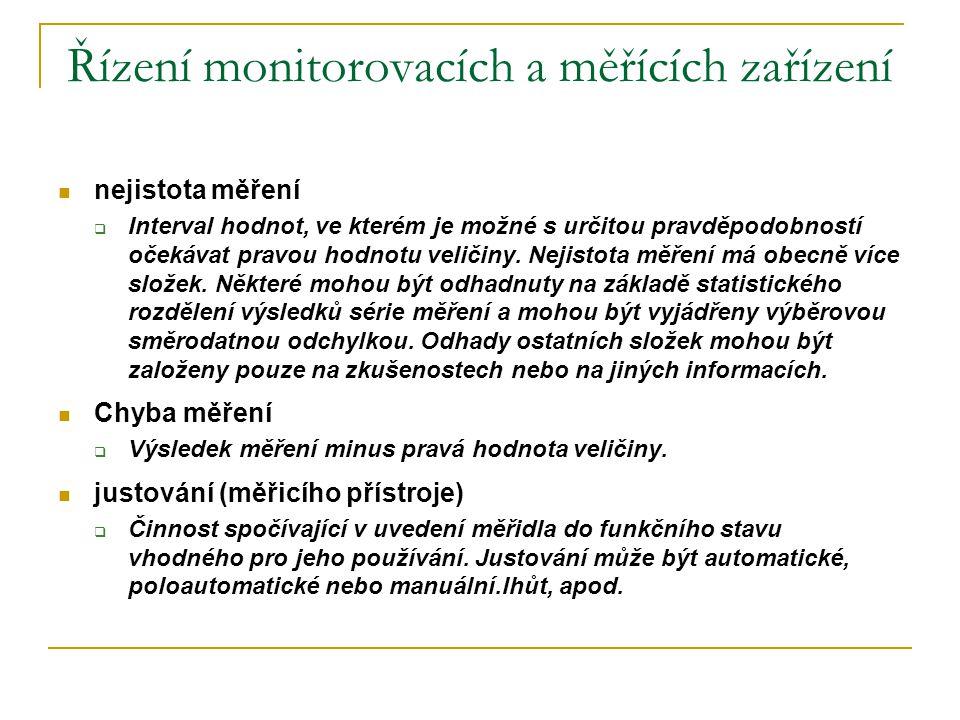 Řízení monitorovacích a měřících zařízení  nejistota měření  Interval hodnot, ve kterém je možné s určitou pravděpodobností očekávat pravou hodnotu
