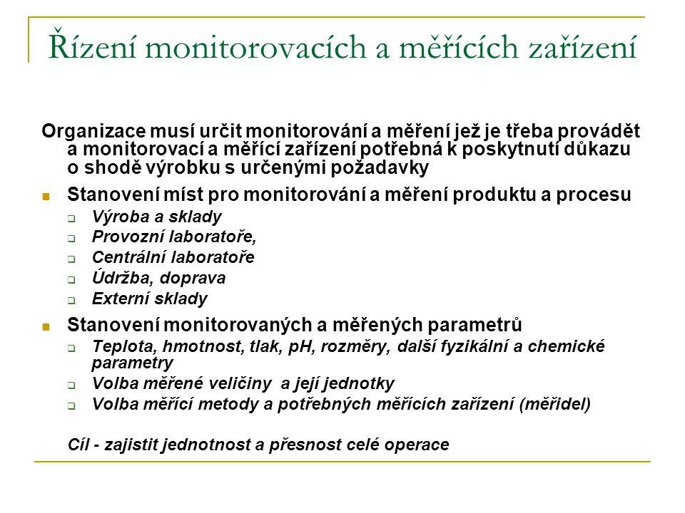Řízení monitorovacích a měřících zařízení Organizace musí určit monitorování a měření jež je třeba provádět a monitorovací a měřící zařízení potřebná