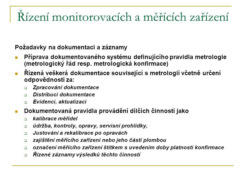Řízení monitorovacích a měřících zařízení Požadavky na dokumentaci a záznamy  Příprava dokumentovaného systému definujícího pravidla metrologie (metr