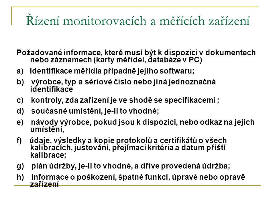 Řízení monitorovacích a měřících zařízení Požadované informace, které musí být k dispozici v dokumentech nebo záznamech (karty měřidel, databáze v PC)