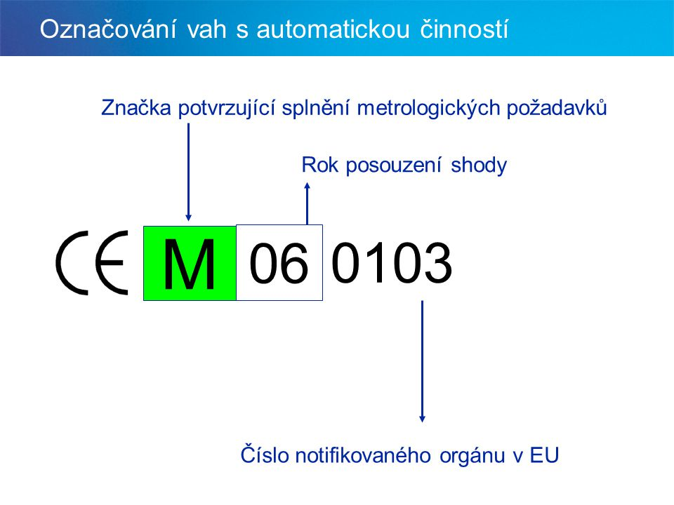 Označování vah s automatickou činností 0606 0103 M Rok posouzení shody Číslo notifikovaného orgánu v EU Značka potvrzující splnění metrologických poža