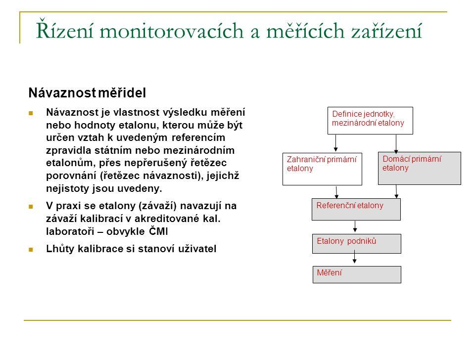 Řízení monitorovacích a měřících zařízení Návaznost měřidel  Návaznost je vlastnost výsledku měření nebo hodnoty etalonu, kterou může být určen vztah