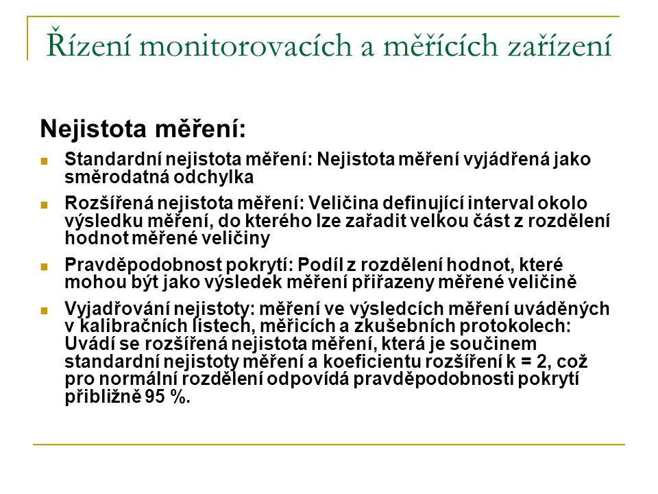 Řízení monitorovacích a měřících zařízení Nejistota měření:  Standardní nejistota měření: Nejistota měření vyjádřená jako směrodatná odchylka  Rozší