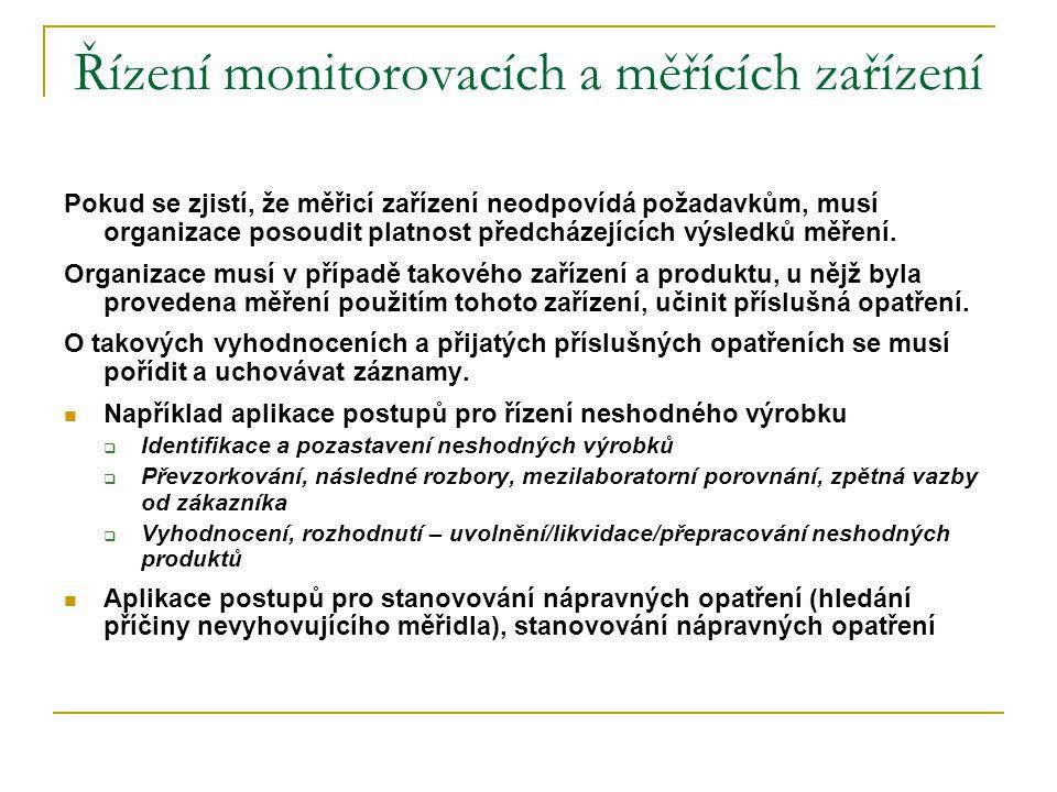 Řízení monitorovacích a měřících zařízení Pokud se zjistí, že měřicí zařízení neodpovídá požadavkům, musí organizace posoudit platnost předcházejících