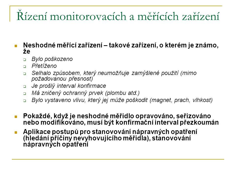 Řízení monitorovacích a měřících zařízení  Neshodné měřící zařízení – takové zařízení, o kterém je známo, že  Bylo poškozeno  Přetíženo  Selhalo z